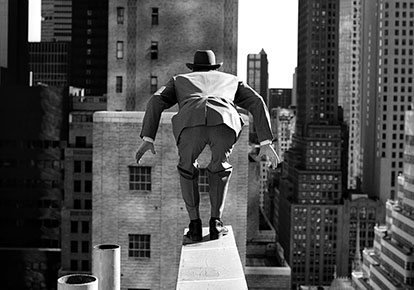 Rodney Smith | ALAN LEAPING FROM 515 MADISON AVENUE, NEW YORK CITY, 1999